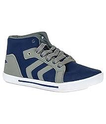 Leewon Arrow Blue Grey Men's Canvas Sneakers (Size : 7 )