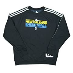 New Orleans Hornets Basketball Team Issued adidas Crew Sweatshirt Size XL - Charcoal