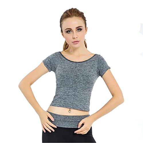 Heart&M Sport breve maniche gilet Yoga donne coreane ombelico sexy fitness eseguire , gray , Free