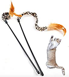 Cat teaser wand for hours of fun and exercise 2 pack