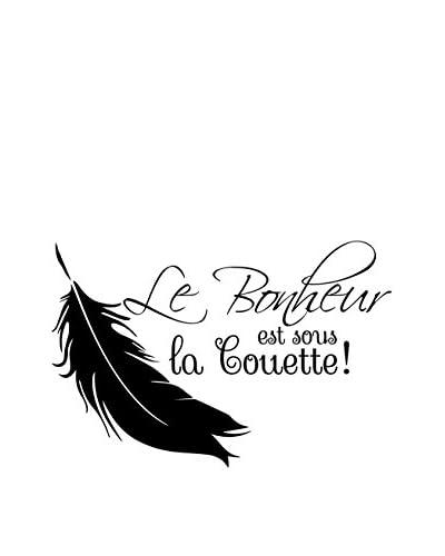 ZZ-Ambiance-sticker Vinilo Decorativo White Le Bonheur Est Sous La Couette