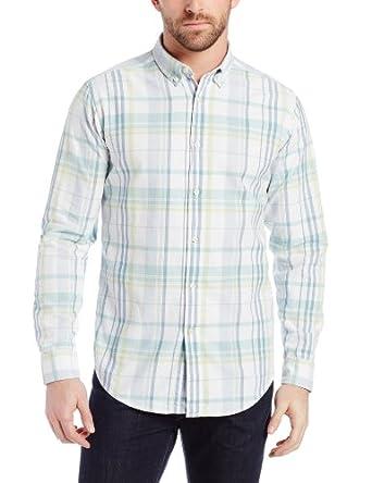 Haggar Men's Life Khaki Classic Plaid Buttondown Oxford Long Sleeve Slim Fit Woven Shirt, Light Green, Small
