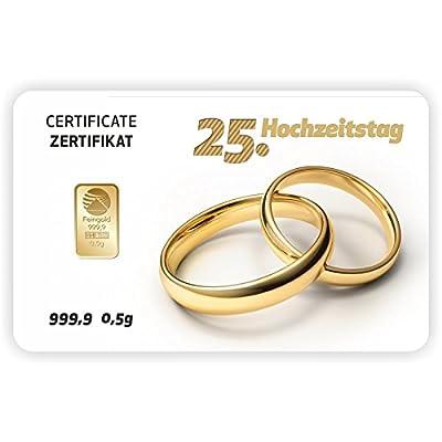 Goldbarren Geschenkkarte 0,5 g 0,5g Gramm Feingold 999.9 Nadir Gold 25. Hochzeitstag