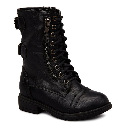 Carrie Toddler/Little Kid Chess Lace-Up Boots - Black 12 M Us Little Kid