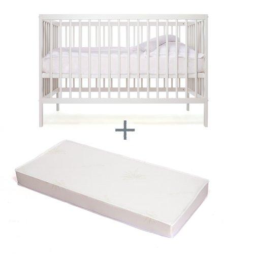Babybett-kinderbett-Kombi-Kinderbett-moKee-weiss-mit-Matratze-kologisch