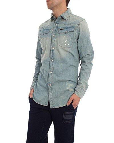 G-Star - Camicia casual Classico, Uomo, Blue (Vintage Light Aged), L