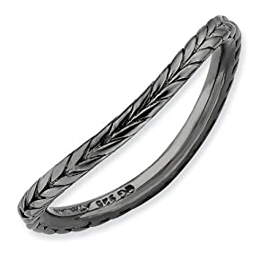 1.5mm Sterling Silver Stackable Expressions Polished Black-plate Wave Ring - Size N 1/2 - JewelryWeb