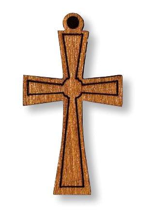 Light Tone Wooden Cross Medal Charm Pendant Necklace Christian Catholic Religious