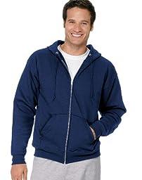 Hanes Men\'s Full Zip EcoSmart Fleece Hoodie, Navy, Small