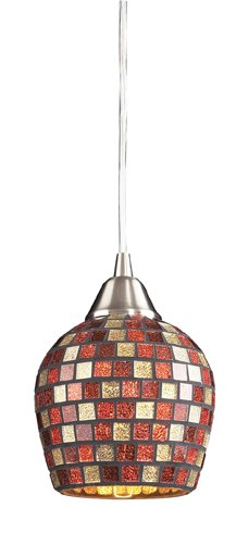 Elk 528-1MLT 1-Light Pendant In Satin Nickel And Multi Mosaic Glass