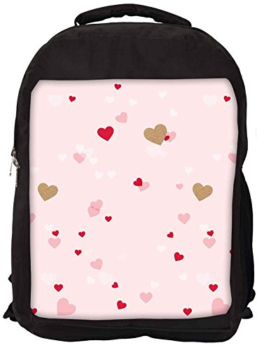 Snoogg Heart Pattern Pink Backpack Rucksack School Travel Unisex Casual Canvas Bag Bookbag Satchel