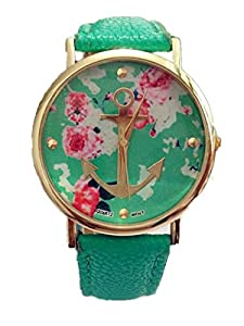 LI&HI Charm High Fashion Women's Geneva Rose Flower Golden Anchor Style Leather Watch
