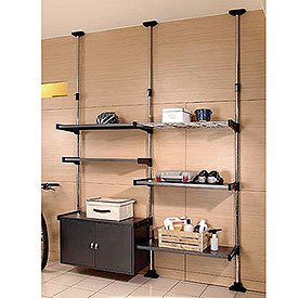 Adjustable Shelf Rack System with Closed Storage