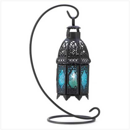 Gifts & Decor Night Hanging Table Lantern Candle Holder, Sapphire front-790994