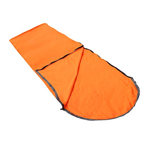 Aircee (TM) Hooded Polar Fleece Sleeping Bag For Summer Camping or Liner For Winter, Micro-Fleece Blanket. (Orange) (Micro Sleeping Bag compare prices)