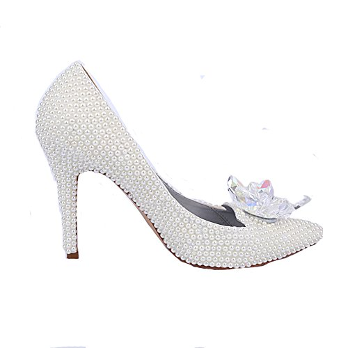 Friday Women's Cinderella Pearls Wedding Heels Bridal Pumps
