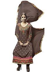 khodiyar Women Brown georgette semi-stiched suit