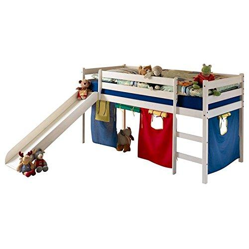Rutschbett Abenteuerbett Stockbett Hochbett Kinderbett LARS, weiß, 90×200 cm online bestellen