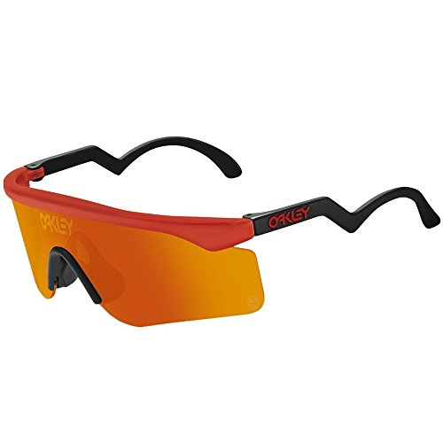 Oakley Mens Heritage Razor Blades Sunglasses - Red/Fire Iridium Lens