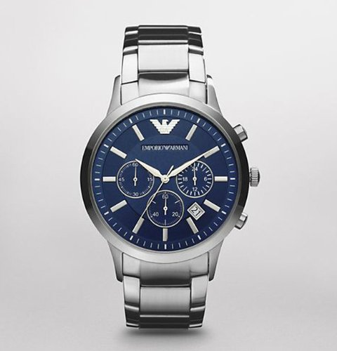Emporio Armani Men's AR2448 Classic Chronograph Stainless Steel Blue Dial Watch