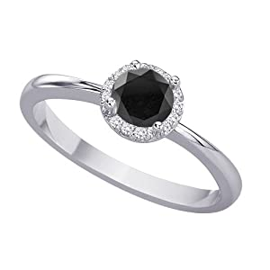 Halo Diamond Promise Ring with Black Center Diamond in 14K White Gold (1/3 cttw)