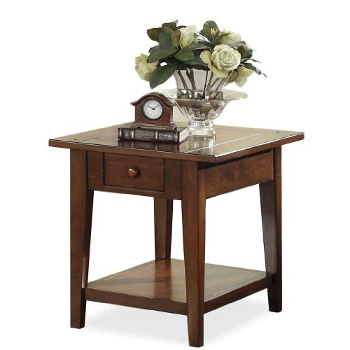 Buy low price drawered end table by riverside light wood for Light wood side table