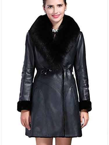 BLQY Women's Sheep Suede & Shearling Coat with Fox Fur Collar and Cuffs Large Black