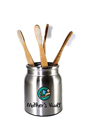 Mother's Vault Biodegradable, Eco-Friendly Bamboo Toothbrush w/ BPA-Free Soft Nylon Bristles - Natural Dental Care for Men & Women