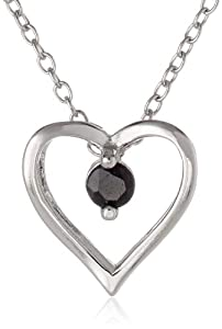 Sterling Silver Blue Sapphire Heart Pendant, 18""