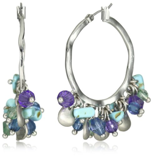Napier Silver-Tone Turquoise Multi-Shaky Hoop Earrings