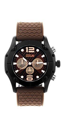 swiss-hunter-sh2468bkbr-negro-y-marron-textura-dial-reloj-deportivo