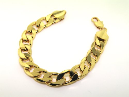 LUXURY Curb Bracelet 24 k Gold plated New 13mm Bling solid chunky Heavy mens uk