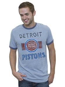 NBA Detroit Pistons Mens Vintage Tri-Blend Short Sleeve Ringer T-Shirt, Vintage Blue by Junk Food