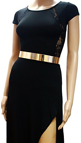 Womens Metal Mirror Waist-Belt Metallic Belt Obi Wide (Gold)