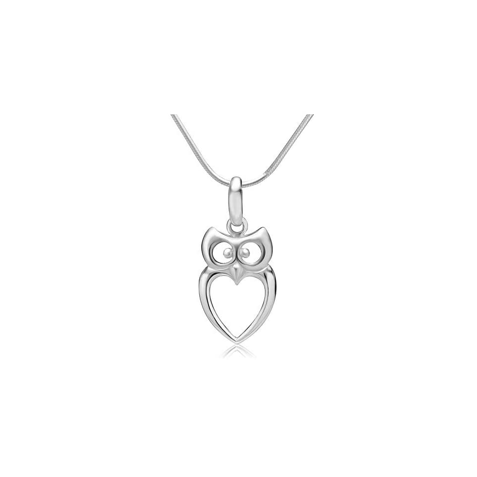 925 Sterling Silver Owl Bird Heart Shaped Charm Pendant Necklace 18 Fashion Jewelry for Women, Teens   Nickel Free