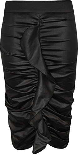 WearAll Women's Wet Look Ruched Frill Midi Skirt Black - US 8-10 (UK 12-14)