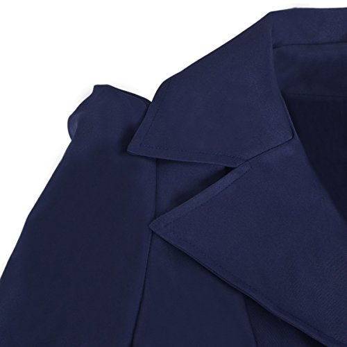 Hee Grand Women OL Slim Double-Breasted Trench Coat Pleated Outwear Overcoat Chinese L Navy