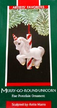 Hallmark 1989 Edition Merry Go Round Unicorn Christmas Tree Ceramic Figurine Ornament - Rare Vintage Holiday Collectible Decoration