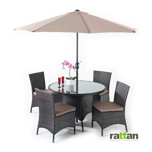 Java 4 Seater Rattan Dining Garden Conservatory Furniture Set with Glass Topped Table and Parasol