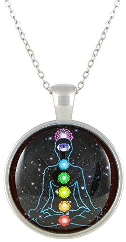 KlimtArt-7-Chakra-Kette-mit-Glas-Anhnger-fr-Damen-Halskette-mit-elegantem-Chakren-Medaillon-moderner-Modeschmuck-mit-hochwertigem-Yoga-Amulett-fr-Frauen