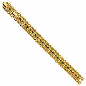 Gold-plated Swarovski Crystal Green 7In with 1in extension Rope Link Bracelet