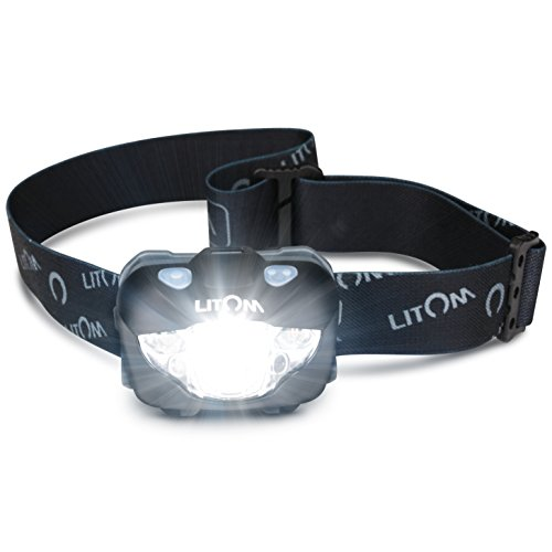 LITOM Headlamp Flashlight with White/Red LED Gesture Control, IPX6 Waterproof