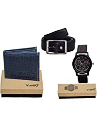 Combo Pack Of Blue Denim Shade Wallet With Black Belt With Black Dial Chronograph Wrist Watch.