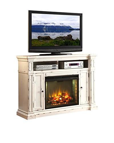 Legends Furniture New Castle Fireplace Media Center, Rustic White