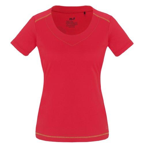 Jack Wolfskin Damen Shirt Coolmax Print T Women, Hibiscus Red, XXL, 1802371-2260006