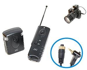 Radio-télécommande JJC JM-E pour Olympus E-1, E-3, E-5, E-10, E-20, E-20N, E-100RS, E-300, (avec Poignée HLD3), E-330, E-500, C5060, (avec HLD20), C7070 WZ (avec HLD20), C8080WZ (HLD30), y compris piles de qualité Varta/Panasonic
