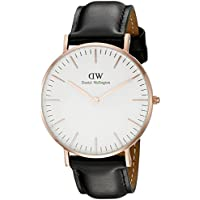 Daniel Wellington 0508DW Leather Strap Womens Quartz Watch (Rose Gold)