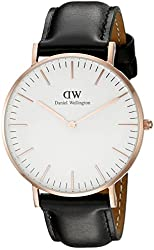Daniel Wellington Women's 0508DW Classic Sheffield Rose Gold-Tone Stainless Steel Watch with Black Leather Band