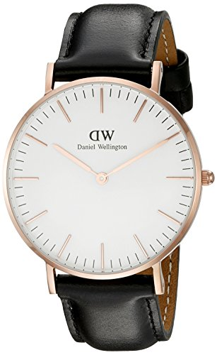 Daniel Wellington Women's Quartz Watch Classic Sheffield Lady 0508DW with Leather Strap, Rose Gold