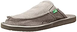 Sanuk Men\'s You Got My Back 2 Basics Mule, Grey Canvas, 7 M US